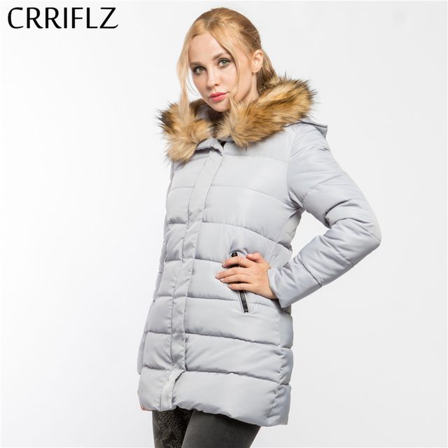 CRRIFLZ New Long Parkas Female Womens Winter Jacket Coat Thick Cotton Warm Jacket Womens Outwear Parkas Plus Size Fur Coat 2017