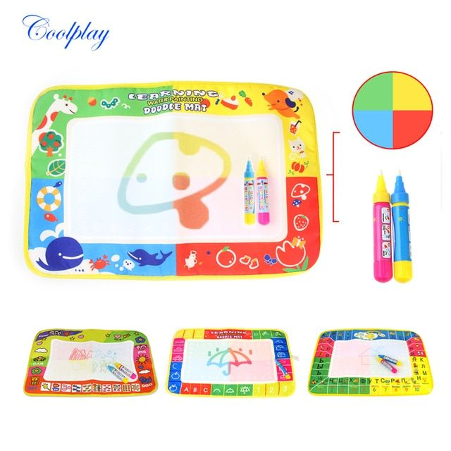 Baby Kids Water Coloring Mat & Magic Pen Doodle Painting Drawing Board Play Rug Russian Board Kids Educational Gift )