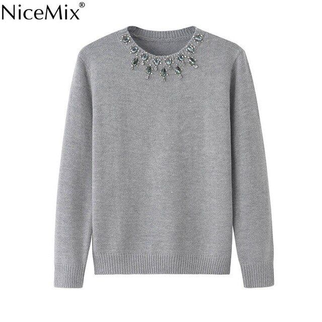 NiceMix 2018 Autumn Sweater Women Crystal Beading O-neck Elegant Pullovers Casual Wool Knitted Slim Sweaters Pullover Women