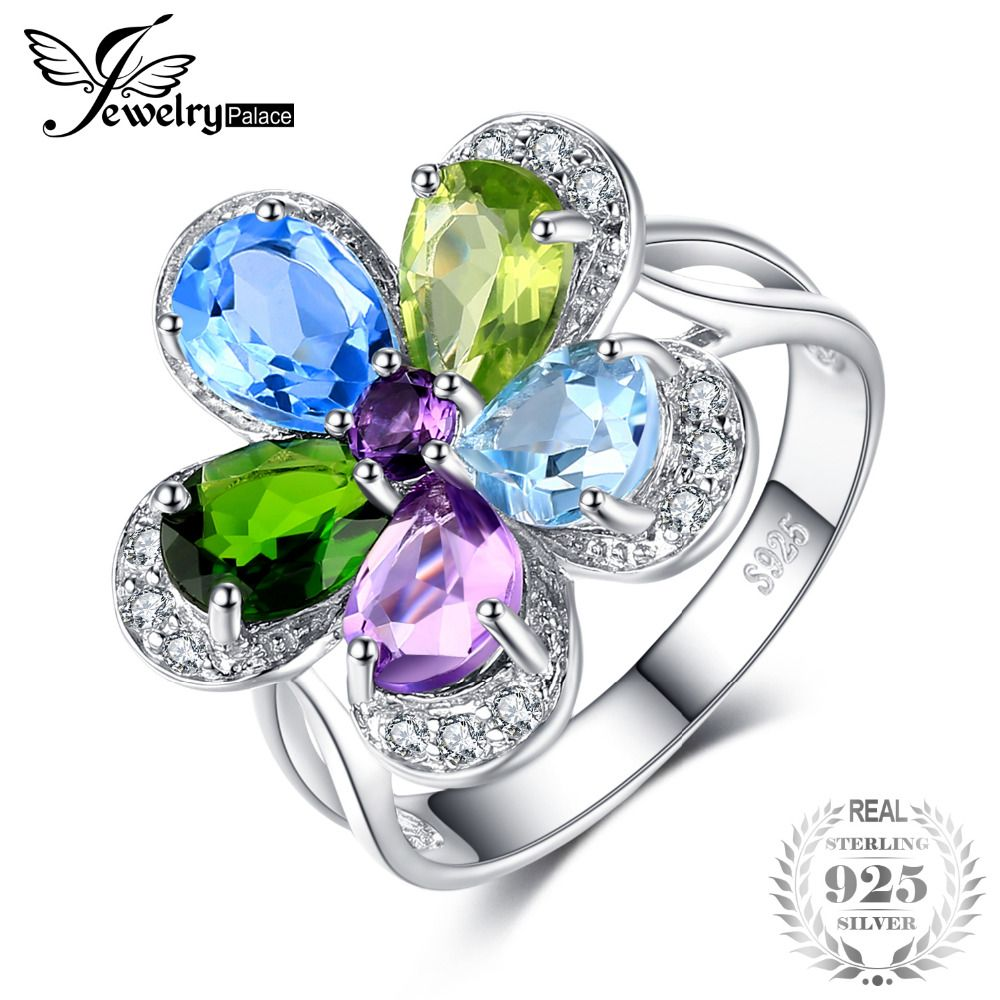 JewelryPalace Flower 4ct Multicolor Natural Sky Blue Topaz Amethyst Peridot Chrome Diopside Cocktail Ring 925 Sterling Silver