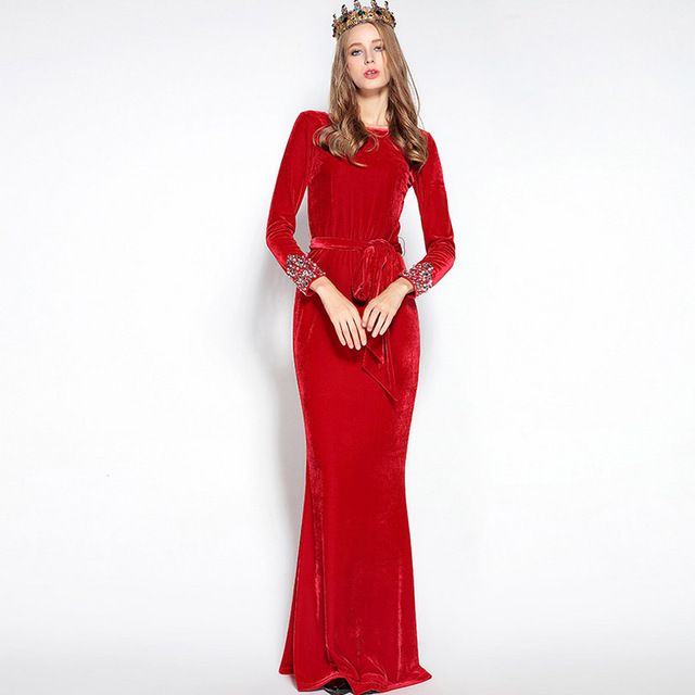 Luxury New Arrival 2016 Autumn Women's O Neck Long Sleeves Crystal Beaded Sash Bow Belt Elegant Red Maxi Velour Runway Dresses
