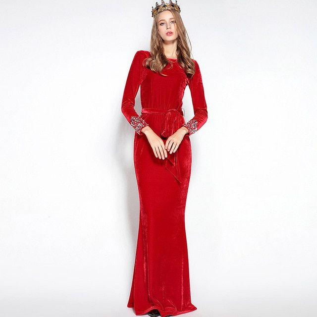 Luxury New Arrival 2017 Autumn Women's O Neck Long Sleeves Crystal Beaded Sash Bow Belt Elegant Red Maxi Velour Runway Dresses