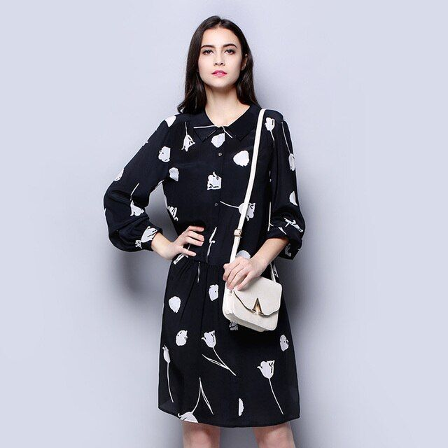 100% Silk Crepe Dress Classic White and Black Versions Fashion Women Spring Dress Flower Pattern
