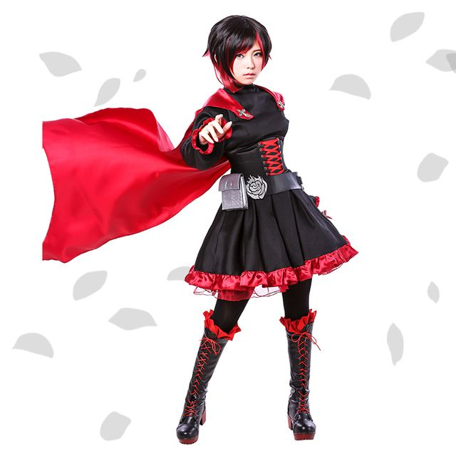 Ruby Rose Cosplay RWBY Red Dress Cloak Battle Uniform Holloween Carneval Party Supply Uwowo Costume