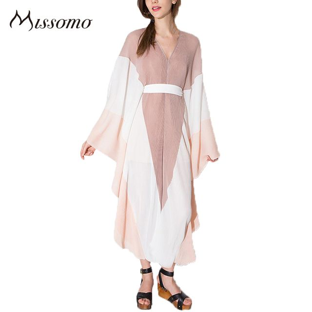 Missomo 2017 New Fashion Women Sexy Deep V Neck Slim Romper Color Contrast Kimono Jumpsuit Batwing Sleeve Casual Playsuit