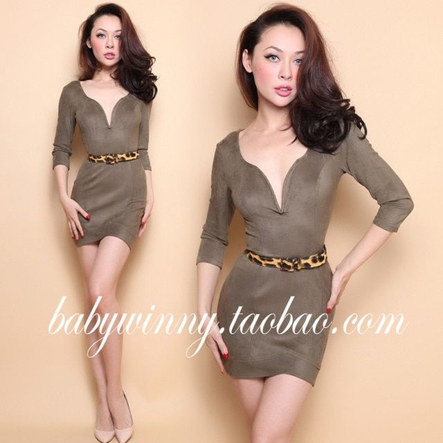 FREE SHIPPING 2016 Summer New Arrival Vintage Sexy Army Green Low Cut V Neck Elasticity High Waist Slim Mini Women Dress Clothes