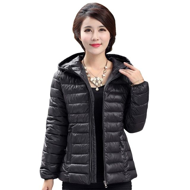 2016 Winter Parkas Ultra Light Jacket Women Hooded Coat Plus Size 5XL Solid Color Thin Jackets warm female Coats manteau femme