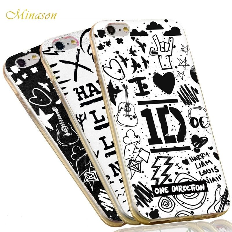 Minason Tattoos 1D Soft TPU Harry Styles One Direction Capa Silicone Phone Case for iPhone X 8 7 6 6S Plus 5S Cover Fundas