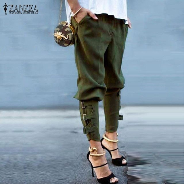 ZANZEA Fashion 2017 Autumn Womens Casual Loose  Army Green Trousers Plus Size S-3XL Elastic Waist Pants Leisure Harem Pants