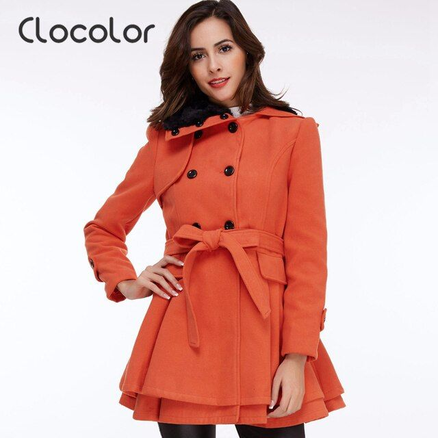 Clocolor Autumn Winter Women Coat Jacket Turn Down Collar Double Breasted Wool Coat with Sashes Brief A Line Winter Women Coat