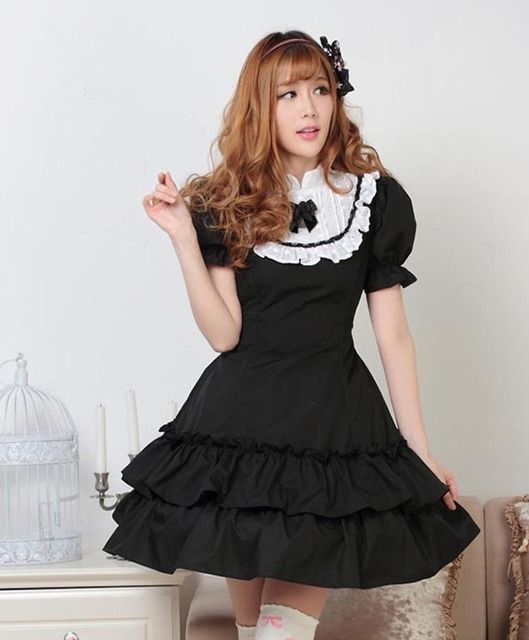 Plus size Solid Black Royal Style Princess dress short puff sleeve ruffles hem bow tie maid Lolita girl Cos maiden women dress