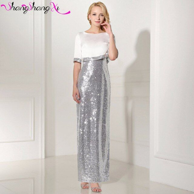 Elegant Silver Sequined Mermaid Dresses Evening Gowns With Jackets Vestido Longo Short Sleeves Prom Formal Gowns SSX539