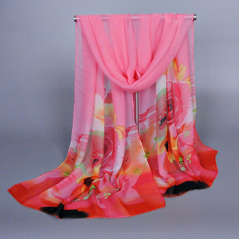 Women Autumn/winter Fashion Silk Chiffon Scarf Elegant Ladies Flower Scarves Female Pashmina Cashmere Shawl Toalla Mandala XQ157