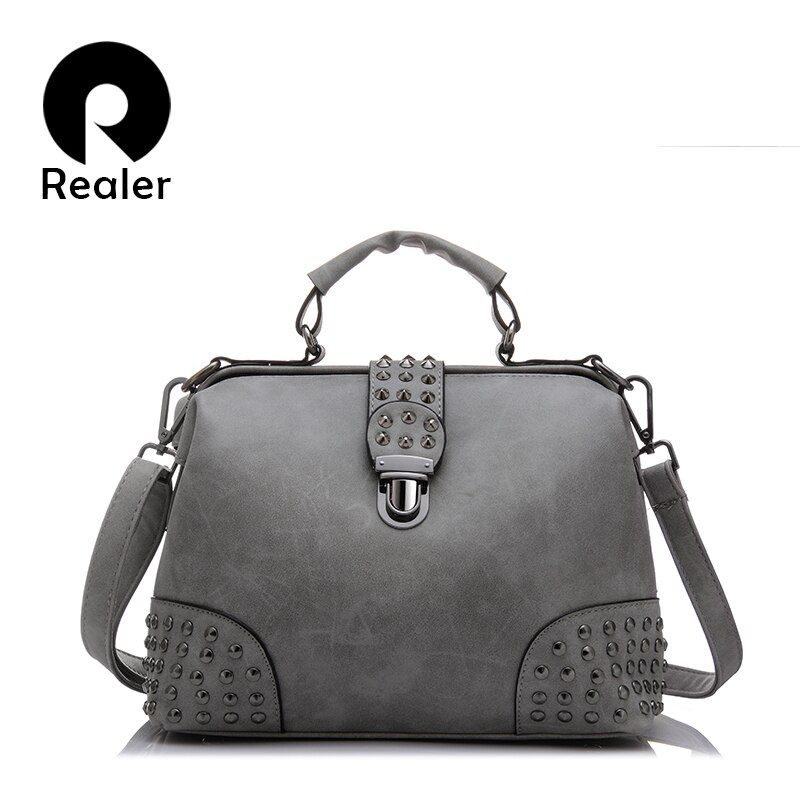 Realer Brand New women small shoulder messenger bags doctor bag rivet handbags ladies vintage PU tote bag 2017