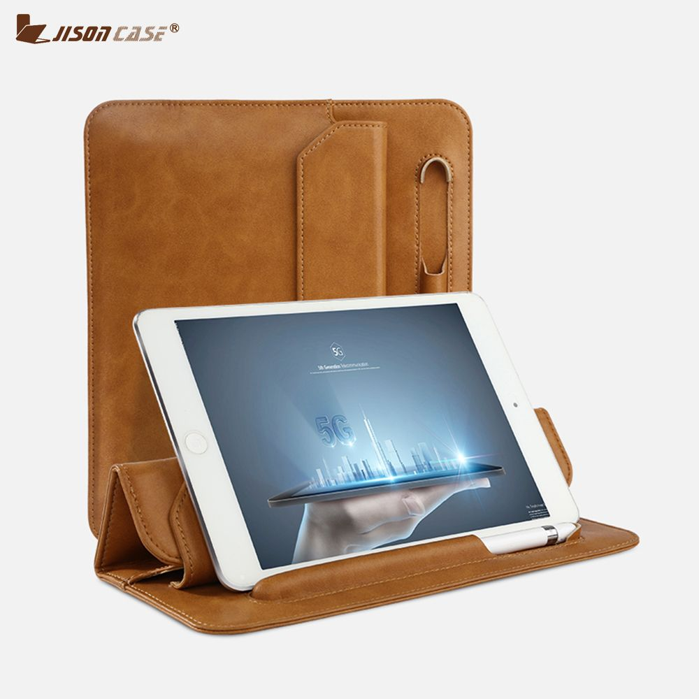 Jisoncase Sleeve For ipad mini 5 1/2/3 Soft Folding Sleeve Bag with Pencil Slot Microfiber Stand Holder Case for iPad 2018 case