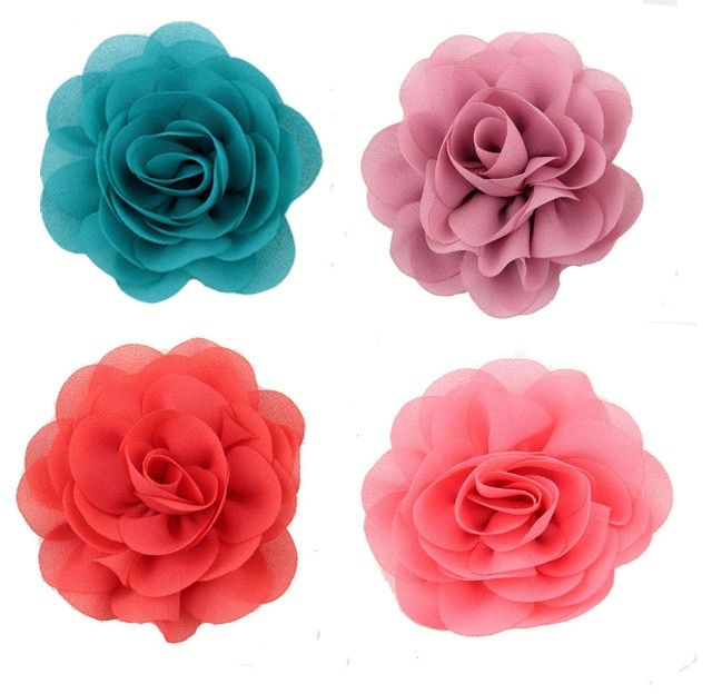 Free Shipping! 120pcs/lot kids Girls' Hair Accessories Chiffon Silk DIY Rosette Flowers WITHOUT Clips,Kids Boutique Hair Flowers