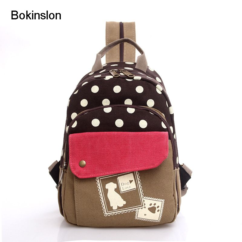 Bokinslon Casual Woman Backpack Fashion Backpack For Girl School Bag Casual Polka Dot College Wind Bag Backpack For Girl