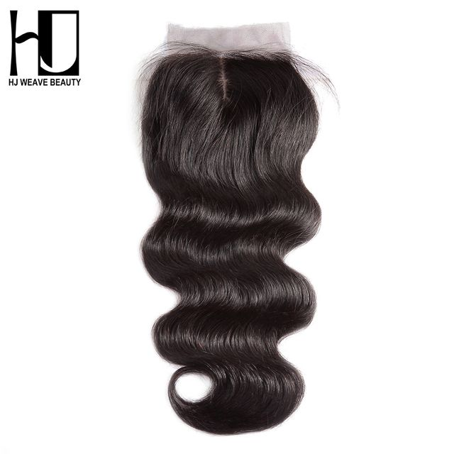 "HJ WEAVE BEAUTY Silk Base Closure Middle Part 4""x4"" Brazilian Body Wave Human Hair With Bleached Knots Remy Hair Free Shipping"