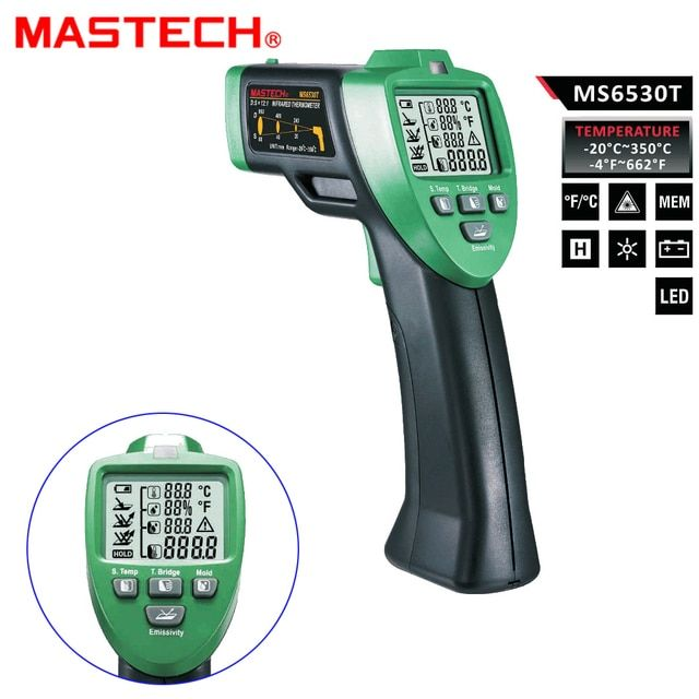 MASTECH MS6530T 12:1 Digital Non-contact Infrared Thermometer Tester IR Laser Temperature Gun Meter Thermostat -20C~350C +/-1.5%