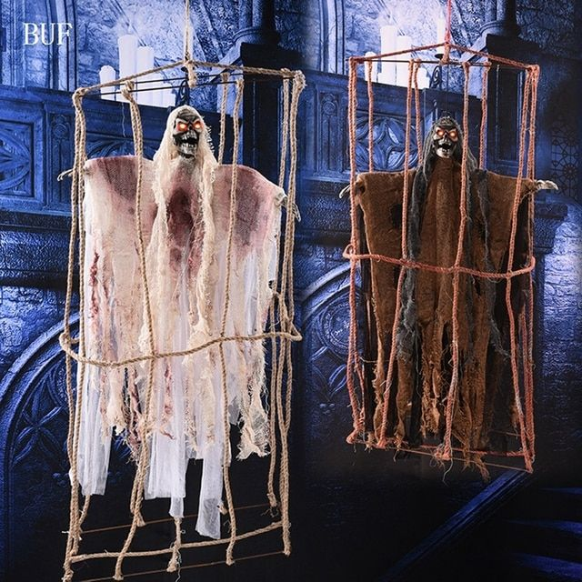BUF Big Size Halloween Party Hanging Decoration Hemp Cage Ghost Creative Halloween Party Decorative Props Ghosts With Voice