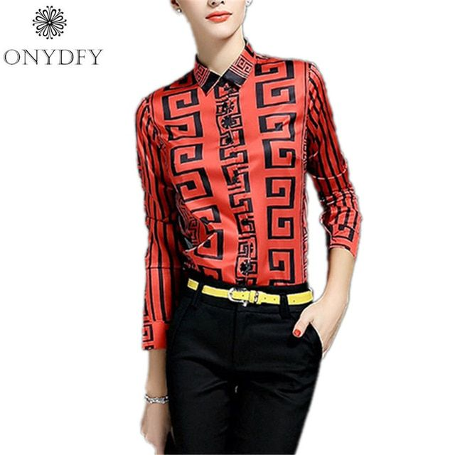 European Runway Luxury Print Blouse Vintage Long Sleeve Shirt Women Tops And Blouses Autumn 2017 Ladies Office Shirts