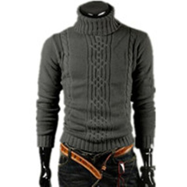 NEW 2017 Men's Thick Warm Sweater Turtleneck Sweater Sweater Irregular Fashion Tide Models Fitted British Shipping M\L\XL\XXL