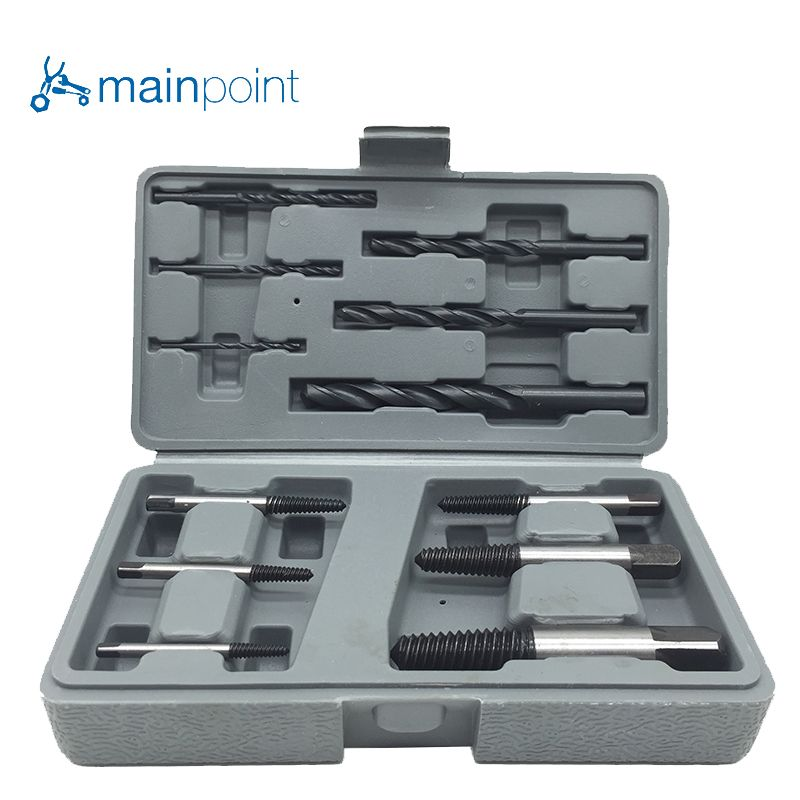 Mainpoint High Hardness 12Pcs Steel Broken Damaged Nut Screw Extractor Drill Bit Guide Set  Broken Screws Bolt Remove tools