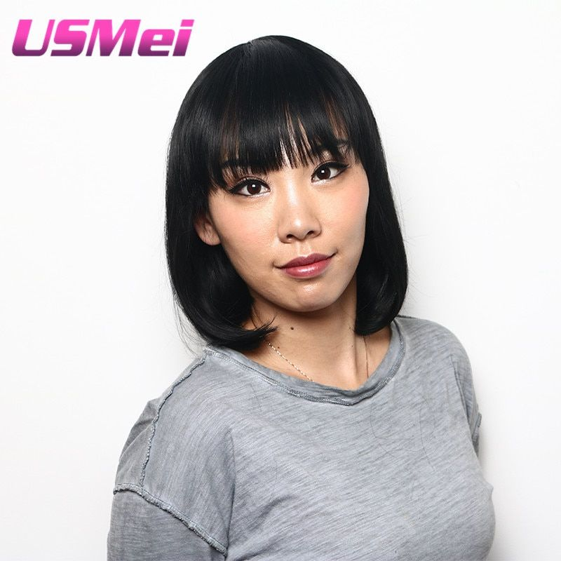 USMEI African American women wigs black straight middle long  bob hair style High temperature fiber synthetic cosplay hair wig