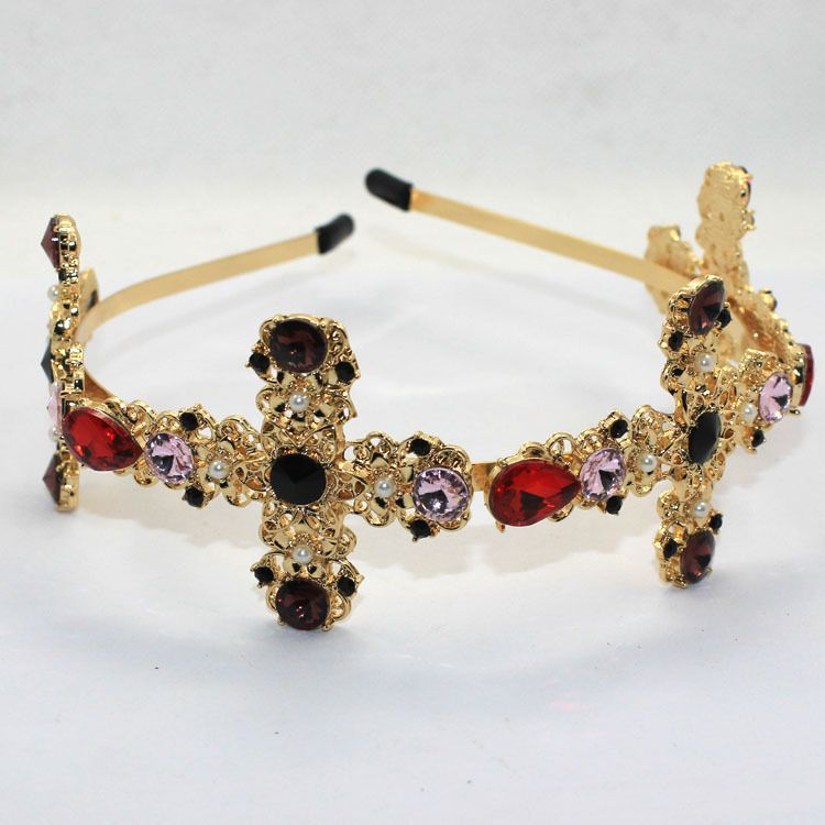 Hot Vintage Tiara Baroque Crystal Bridal Headband High-end Elegant DG Gold Gem Cross Crown Hairband 2016 hair Jewelry accessory