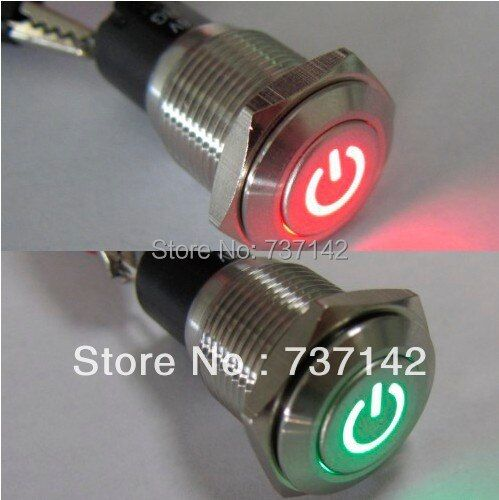 16mm 12V Car Auto Red-Green LED Metal Switch Latching Push Button ON/OFF(PM162F-11ZDT/R-G/12V/S/IP67 with power symbol,CE,ROHS)