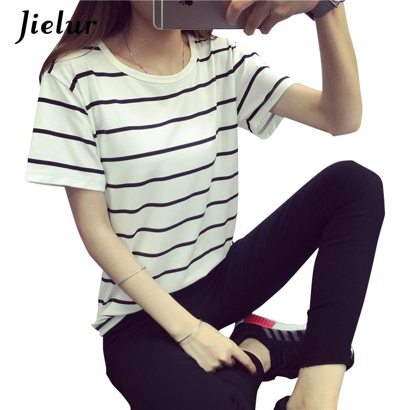 Jielur Summer Fashion Loose Camisetas Mujer Short-sleeved Striped T shirt Women Simple Tops Casual Female T-shirts Harajuku S-XL