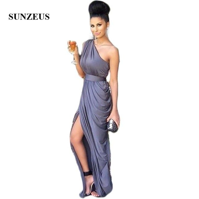 Bridemaids Dresses For Wedding Pleated Jersey One Shoulder Wedding Party Gowns vestido de fiestas largos para una boda