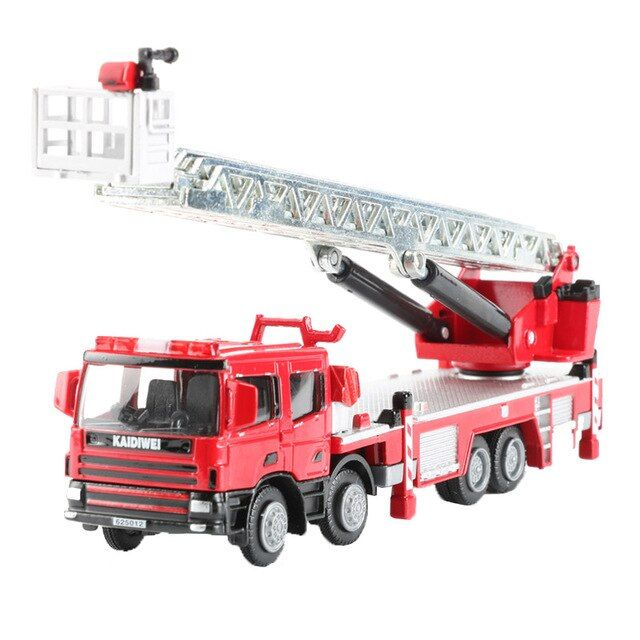 KDW 1:50 Ladder Fire Engine Alloy Car Model Fire Rescue Vehicle Toy Toys For Children Collection Boy