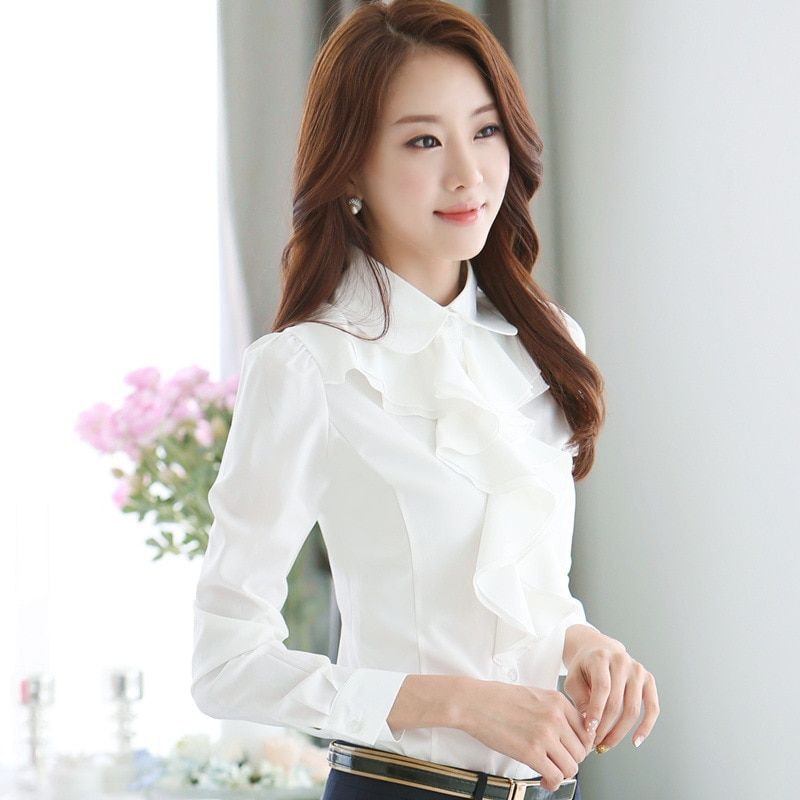 2017 Spring OL Elegant Long-sleeve Frill Shirt Women's Fashion Plus Size Chiffon Blouses Female Office Formal Work Wear Tops