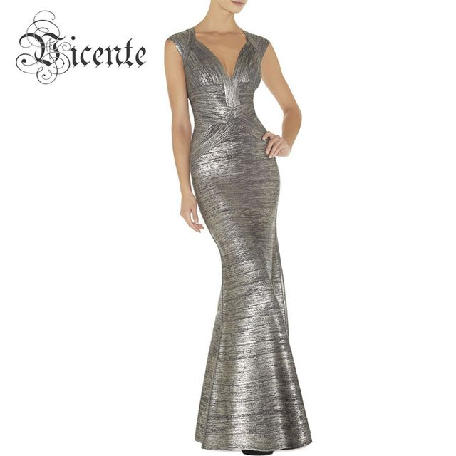 Free Shipping! Elegant Sexy Vneck Oil Print Embellished Flared Bottom Gown HL Celebrity Maxi Long Bandage Dress