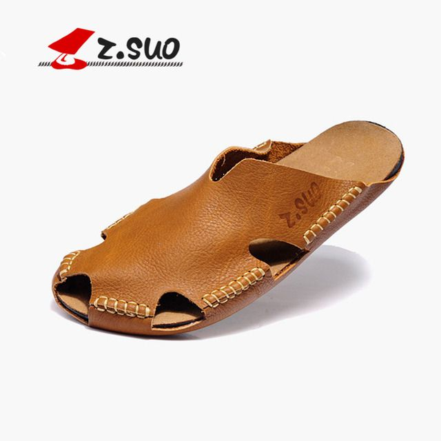 Z.SUO Classic Breathable Toe Cap Covering Slip On Style Male Slippers 100% Genuine Leather Upper Rubber Sole Men's Sandals ZS605