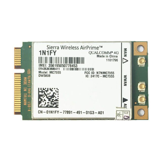 Wireless AirPrime MC7355 PCIe LTE / HSPA + GPS 100Mbps Card 4G Module for 1N1FY DW5808 Sierra Dell 1900/2100/850/700 (B17)/700