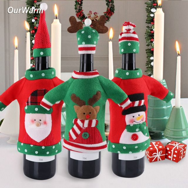 Ourwarm 3pcs Red Wine Bottle Cover New Year's Products Christmas Party Decoration Supplies 2018 Gifts New Year Decor for Home