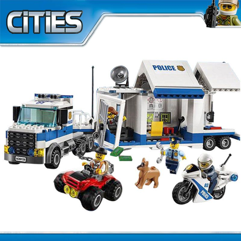 City Mobile Command Center 02017 Building Brick DIY Education Boys Police Toys Gift Compatible 60139