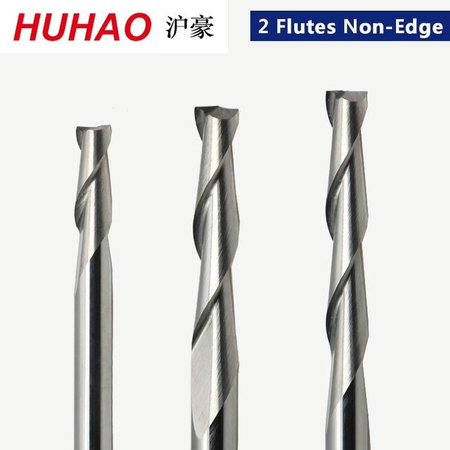 1pc 3.175mm SHK Wood cutter CNC Router Bits 2 Flutes Spiral End Mills Double Flute Milling Cutter Spiral PVC Cutter