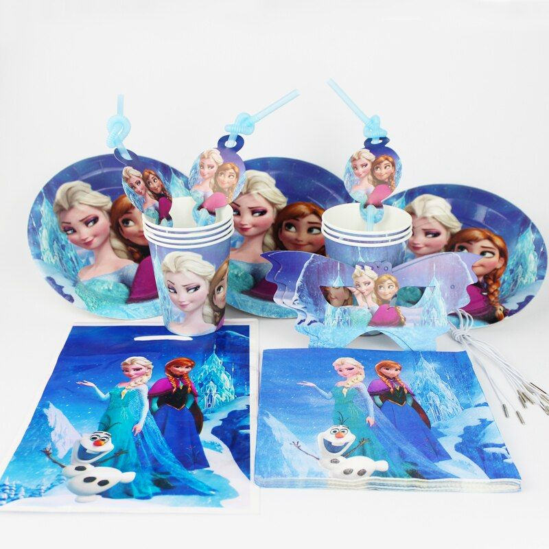 92pcs/lot Wholesale Disney Frozen Baby Birthday Party Decorations Kids Evnent Party Supplies Party Decoration 12 People Use