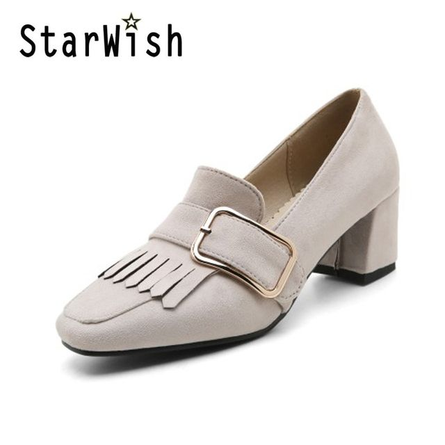 Sexy Tassel High Heels Plus Size 32-44 Platform Casual Shoes Woman Elegant Square Toe Women OL Shoes Shallow Metal Buckle Pumps