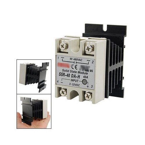 WSFS Hot Sale DC to AC Single Phase Solid State Relay SSR-40DA 40A 90-480V AC+Heat Sink