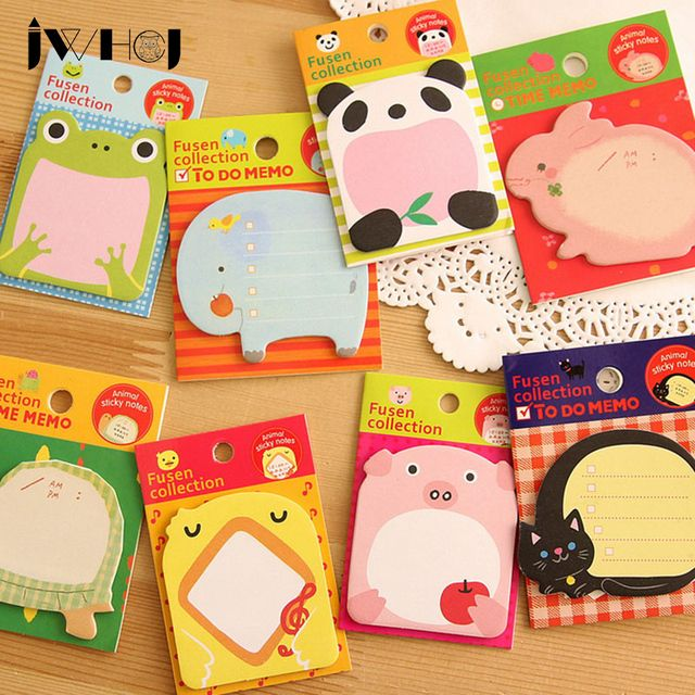 4 pcs /lot  Cartoon animal memo pad paper sticky notes post notepad kawaii stationery papeleria school supplies