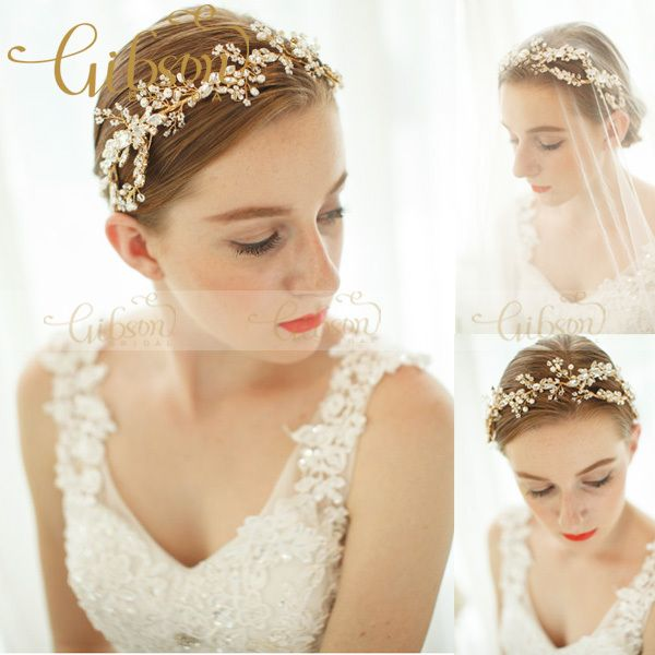 Free Shipping Rhinestone Beads and Crystal Dazzle Wave Headband Wedding Hair Accessories Bridal Headband Tiara Crown