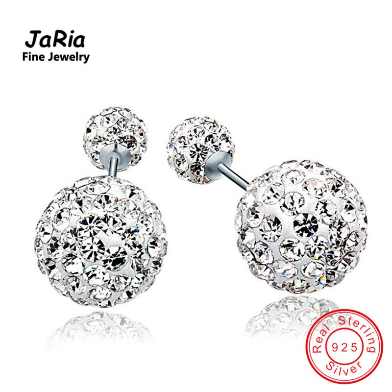 JaRia Women Jewelry Sterling Silver Double Ball Crystal Earrings Fine Jewelry real 925 sterling silver crystal earrings SEA008