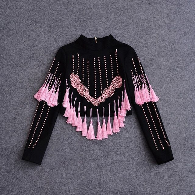 Luxury Tops 2017 Autumn Winter Zipper Tassel Long Sleeve Black / Pink High Quality Barocco Beading Top