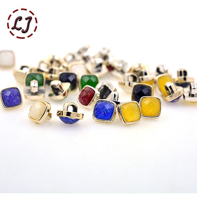 2015 new fashion 30pcs/lot 9mm(0.35in) combined plastic button colorful square for women clothing girl shirt sewing accessories
