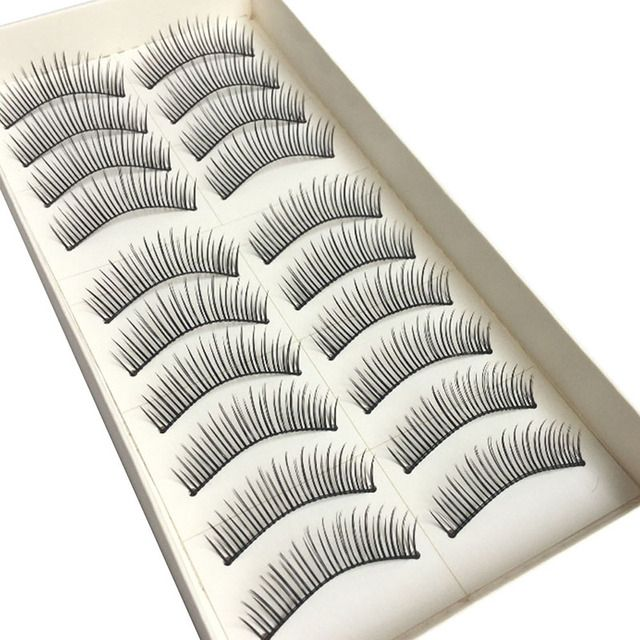 Handmade 10 Pars Natural Long False Eyelashes Brand Make up Cosmetics False Eyelashes Plastic Black Terrier Eye Lashes Extension
