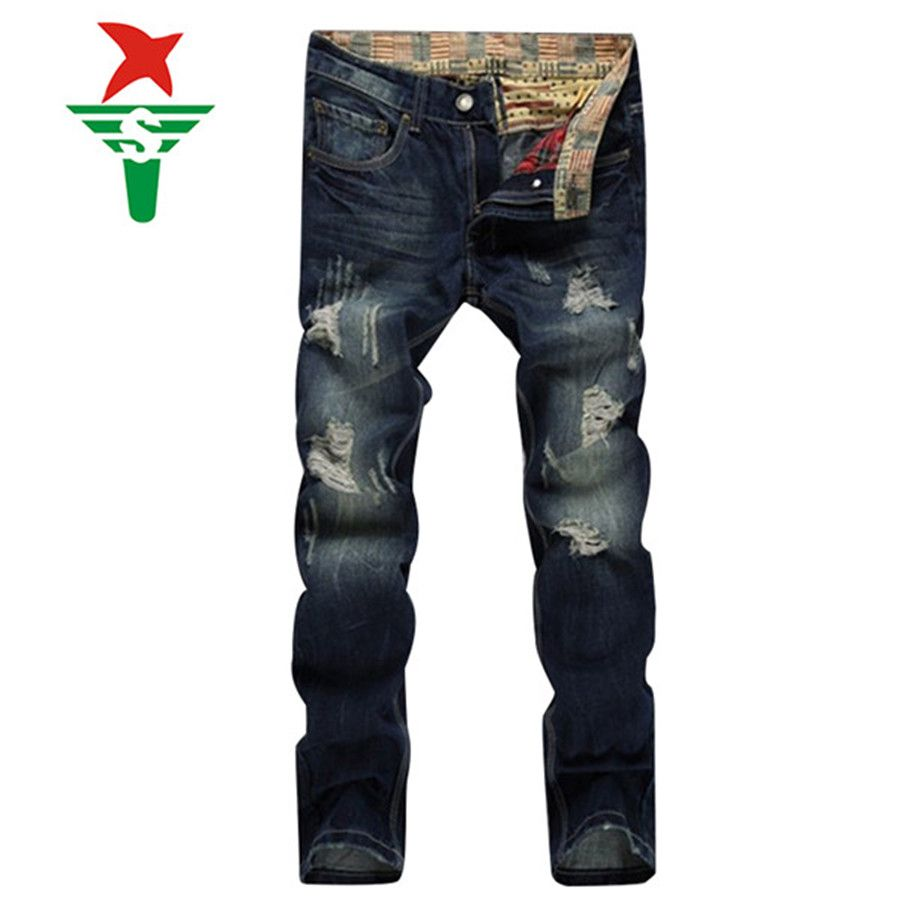 Balman jeans men 2016 mens overalls fashion Patchwork Hole stretch Jeans Slim ripped jeans Hommes adey Blue Jeans Men   D965